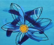 tableau fleurs fleur bleu abstrait contemporain : Deep Blue