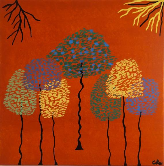 TABLEAU PEINTURE Nature marron figuratif arbres Paysages Acrylique  - Three colors