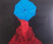 tableau personnages femme rouge parapluie bleu : Umbrella