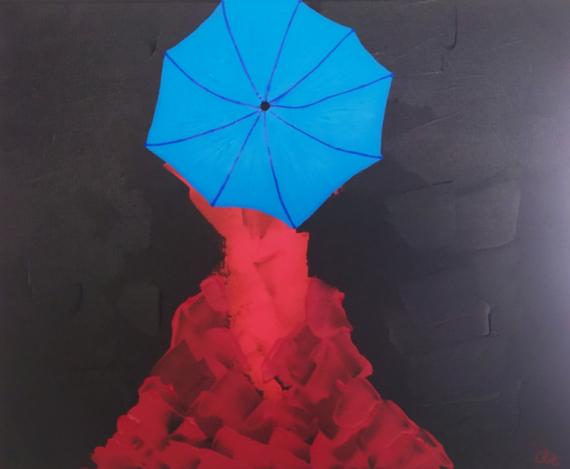 PAINTING femme rouge parapluie bleu Personnages Acrylique  - Umbrella