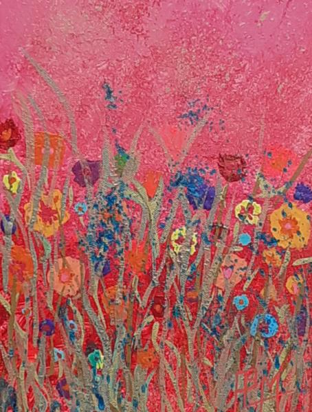 TABLEAU PEINTURE Mars fleurs rouge doré Fleurs Acrylique  - Fleurs martiennes