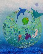 tableau abstrait bleue terre poissons mer : envol de poissons