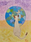 tableau abstrait chat planete nature pourpre : Mon chat espérant une meilleure planète