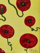 tableau fleurs coquelicots rouge jaune ballons : Ballons coquelicots