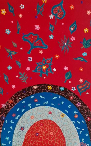 TABLEAU PEINTURE feuilles fleurs rouge planète Fleurs Acrylique  - Explosion