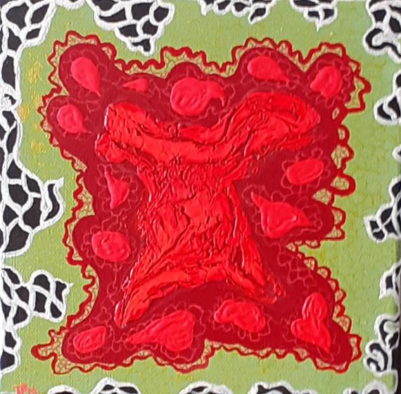 TABLEAU PEINTURE vert rouge entrelacs résille Abstrait Acrylique  - Résille