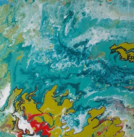 TABLEAU PEINTURE vert fleuve carte méandres Acrylique  - Méandres