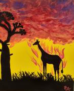 tableau animaux afrique girafe rouge savane : la savane brûle !