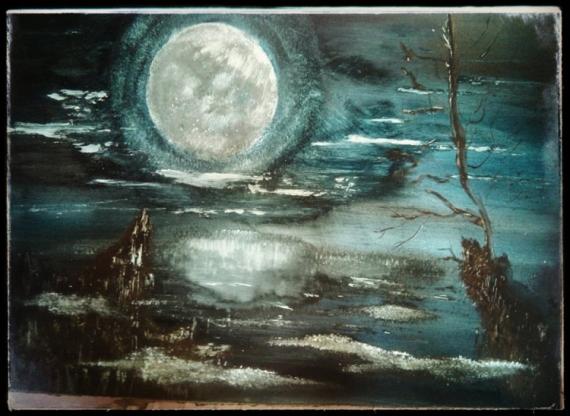 TABLEAU PEINTURE moon Paysages Acrylique  - Tsukyumi Moon
