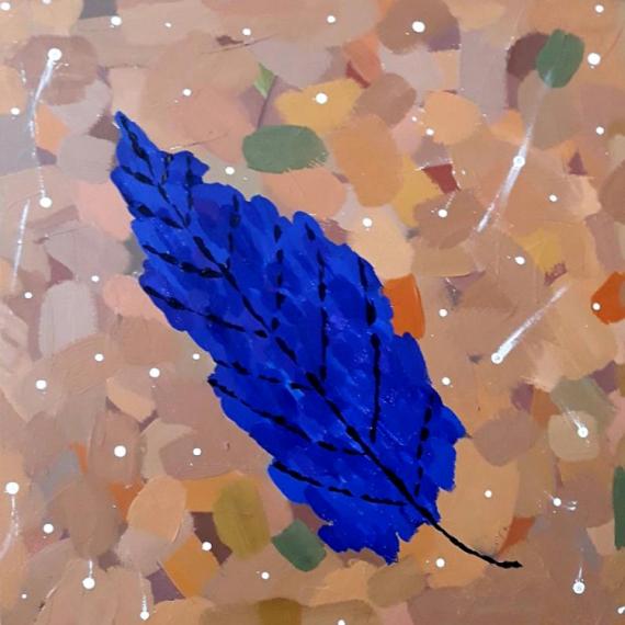 TABLEAU PEINTURE Feuille nature bleu marron Acrylique  - Leave on the ground