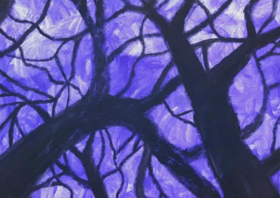 TABLEAU PEINTURE Noir étrange bois mystère Acrylique  - La forêt de l'étrange