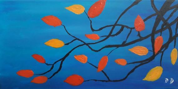 TABLEAU PEINTURE Nature feuilles arbre automne Acrylique  - Nature discornue