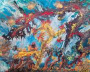 tableau paysages jungle abstrait acrylique paysage abstrait : JUNGLE