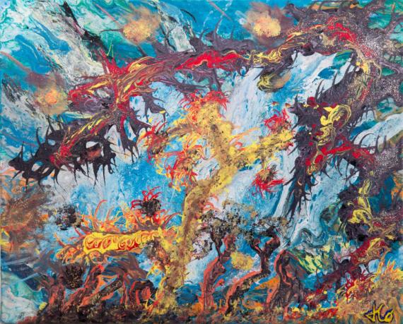 TABLEAU PEINTURE jungle abstrait acrylique paysage abstrait Paysages Acrylique  - JUNGLE