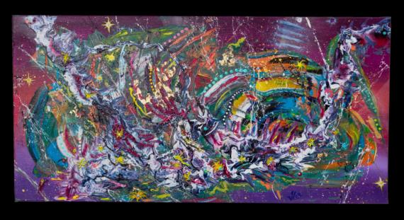 TABLEAU PEINTURE abstrait acrylique fuide JLO Abstrait Acrylique  - La vie est transcendance