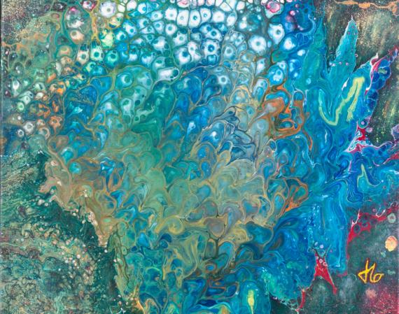 TABLEAU PEINTURE corail acrylique abstrait JLO Abstrait Acrylique  - BULLE DE CORAIL