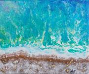tableau paysages plage mer acrylique paysage : ESPIGUETTE