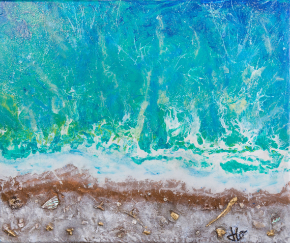 TABLEAU PEINTURE plage mer acrylique paysage Paysages Acrylique  - ESPIGUETTE