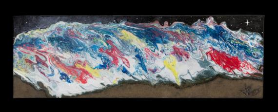 TABLEAU PEINTURE vague acrylique abstrait JLO Marine Acrylique  - NIGHT WAVE
