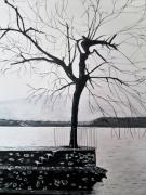 tableau lac : le bout de la jetée