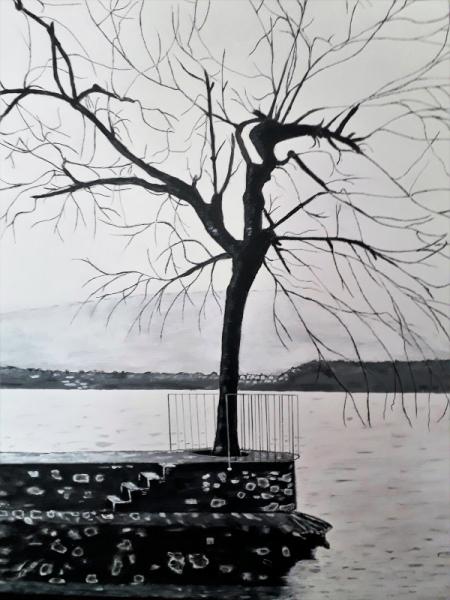 TABLEAU PEINTURE lac Acrylique  - le bout de la jetée