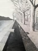 tableau paysages lac : L'Esplanade du lac du Bourget