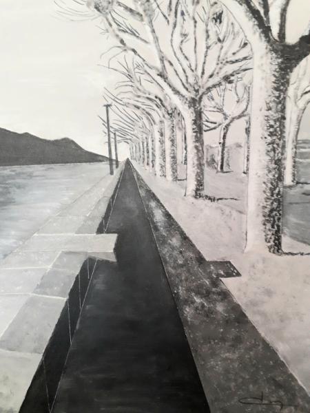 TABLEAU PEINTURE lac Paysages Acrylique  - L'Esplanade du lac du Bourget