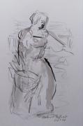tableau personnages femme dessin costume : paysanne au panier de provisions