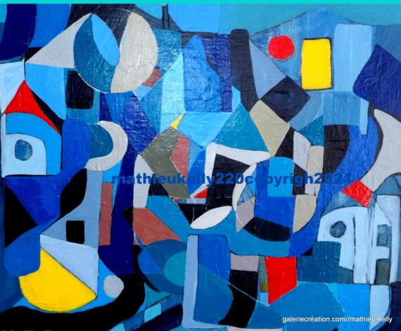 TABLEAU PEINTURE abstrait couleurs contemporain géométrique Abstrait Acrylique  - Les couleurs de la ville