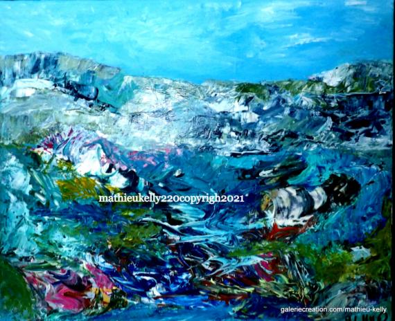 TABLEAU PEINTURE abstrait paysages nature bleu Abstrait Acrylique  - Au fil de l'eau
