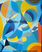 tableau abstrait espace mouvement couleurs formes : Le bleu dans l'espace