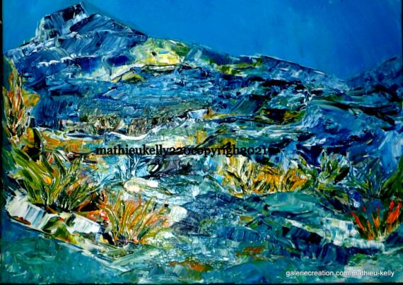 TABLEAU PEINTURE abstrait paysage moderne bleu Paysages Acrylique  - Hélios