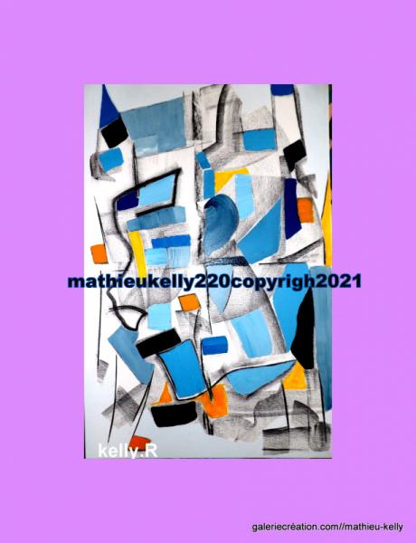 TABLEAU PEINTURE abstrait contemporain couleurs géométrique Abstrait Acrylique  - Pas de nom