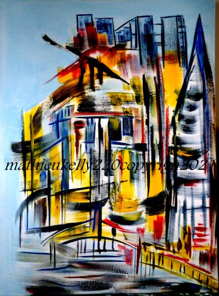 TABLEAU PEINTURE ville jaune abstrait moderne Villes Acrylique  - Paysage urbain