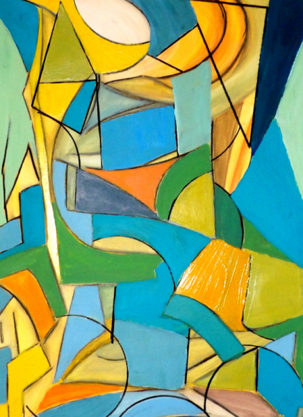 TABLEAU PEINTURE abstrait géométrique couleurs moderne Abstrait  - Pas de nom