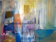 tableau abstrait abstrait geometrique bleu orange : Aire et géométrie