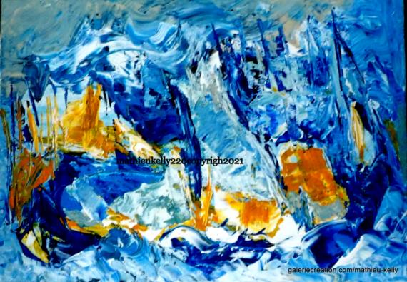 TABLEAU PEINTURE abstrait moderne marine paysage Marine Acrylique  - Symphonie aquatique