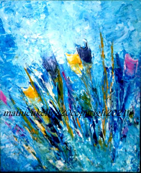 TABLEAU PEINTURE fleurs couleurs espace nature Fleurs Acrylique  - Fleurs printanières