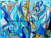 tableau abstrait abstrait moderne couleurs geometriques : Pas de nom
