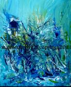 tableau abstrait abstrait paysage vegetal bleu : Blue planting