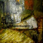 tableau abstrait abstrait jaune paysage nature : Terre