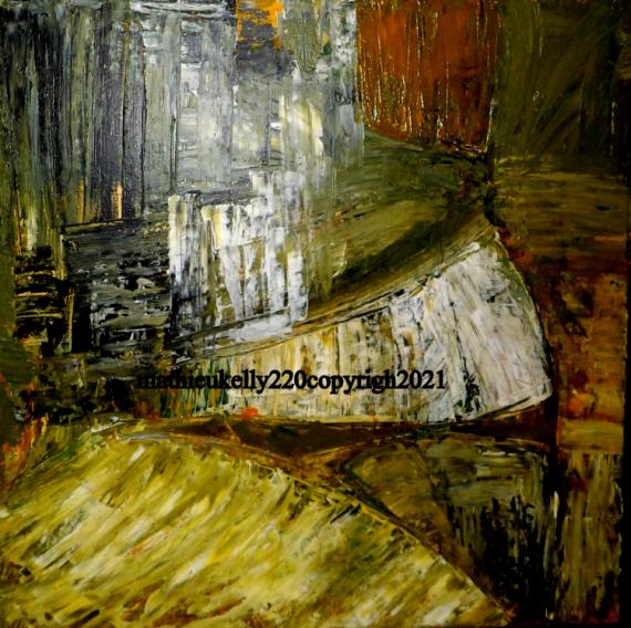 TABLEAU PEINTURE abstrait jaune paysage nature Abstrait Acrylique  - Terre