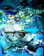 tableau abstrait abstrait paysage eau bleu : Exploration nordique