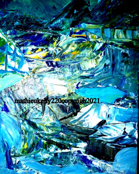 TABLEAU PEINTURE abstrait paysage eau bleu Abstrait Acrylique  - Exploration nordique