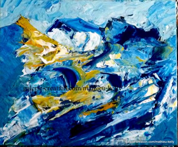TABLEAU PEINTURE abstrait bleu ecologie mouvement Abstrait Aquarelle  - Fonte des glaces