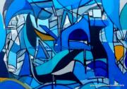 tableau abstrait abstrait bleu moderne contemporain : Pas de nom