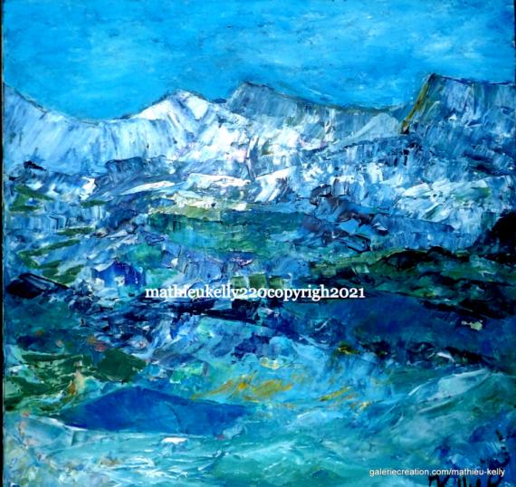 TABLEAU PEINTURE paysage montagne nature abstrait Paysages Acrylique  - Paysage du Sud