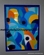 dessin abstrait abstrait bleu dessin acrylique : Aire