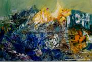 tableau abstrait abstrait moderne paysage nature : Matin polaire