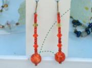 bijoux sandrine chasseigne boucles doreilles pendants rouges : Boucles d'oreilles rouges BO 15